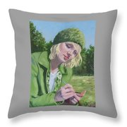 Plein Air Crocheting Throw Pillow
