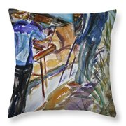 Plein Air Painters - Original Watercolor Throw Pillow