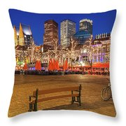 Plein Square At Night - The Hague Throw Pillow