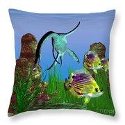 Plesiosaurus Attack Throw Pillow