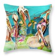 Plethora Of Pelicans Throw Pillow