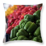Plethora Of Peppers Throw Pillow