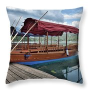 Pletna Boats Of Lake Bled Throw Pillow