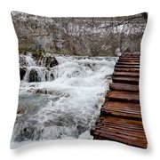 Plitvice Lakes Boardwalk Throw Pillow