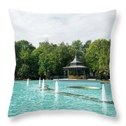 Plovdiv Singing Fountains - Bright Aquamarine Water Dancing Jets And Music Throw Pillow