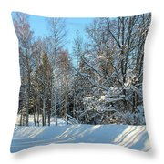 Plowed Winter Street In Sunlight Throw Pillow