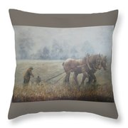 Plowing It The Old Way Throw Pillow