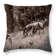 Plowman And Team Of Horses Throw Pillow