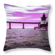 Plum Beach Lighthouse In Ir Throw Pillow