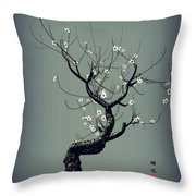 Plum Flower Throw Pillow by GuoJun Pan