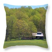 Plum Hollow Sugar Shack In Spring Throw Pillow