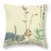 Plum Pine Orchid Throw Pillow
