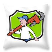 Plumber Holding Monkey Wrench Crest Cartoon Throw Pillow