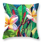 Plumeria Garden Throw Pillow by Marionette Taboniar