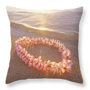 Plumeria Lei Shoreline Throw Pillow