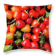 Plump Red Peppers Photo Stock Throw Pillow