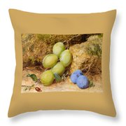 Plums And A Rose Hip On A Mossy Bank Throw Pillow