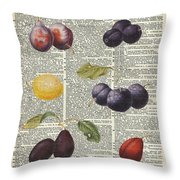 Plums Vintage Illustration Over A Old Dictionary Page Throw Pillow by Anna W