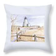 Plymouth Light In Winter Throw Pillow