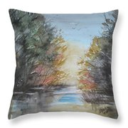 Pm River Sunset Throw Pillow