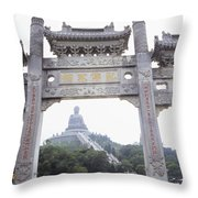 Po Lin Monestary Throw Pillow