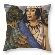 Pocahontas Wears A Turkey-feather Robe Throw Pillow