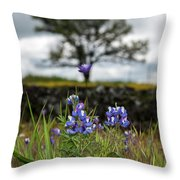 Pocket Of Lupines Throw Pillow