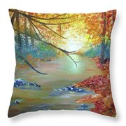 Pocono Creek In Autumn Throw Pillow