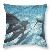 Pod Of Dolphins Throw Pillow