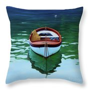 Coastal Wall Art, Poetic Light, Fishing Boat Paintings Throw Pillow