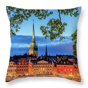 Poetic Stockholm Blue Hour Throw Pillow