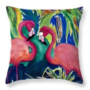 Poin And Settia Dine At The Palm Throw Pillow