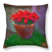 Poinsettia Pot Throw Pillow