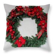 Poinsettia Wreath Throw Pillow