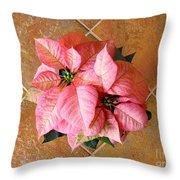Poinsettias -  Pinks On Tile Too Throw Pillow