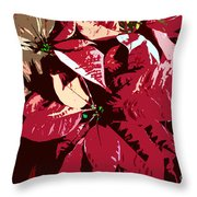 Poinsettia's Work Number 7 Throw Pillow