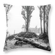 Point Betsie Lighthouse In Fog Throw Pillow