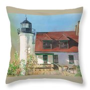Point Betsie Lighthouse Throw Pillow