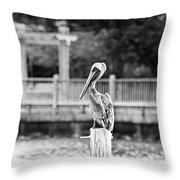 Point Clear Alabama Brown Pelican - Bw Throw Pillow