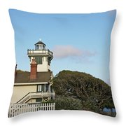 Point Fermin Light - An Elegant Victorian Style Lighthouse In Ca Throw Pillow