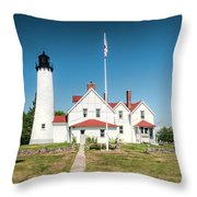 Point Iroquois Lighthouse Throw Pillow