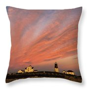 Point Judith Lighthouse Sunset Throw Pillow