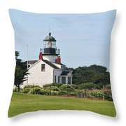 Point Pinos Light - Lighthouse On The Golf Course - Pacific Grove Monterey Central Ca Throw Pillow by Christine Till