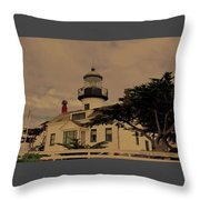 Point Pinos Lighthouse Antiqued Throw Pillow