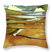 Point Reyes, Ca, Drakes Beach Estuary, Midday Tide, Watercolor Plein Air Throw Pillow