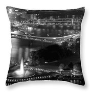 Point State Park In Black And White Throw Pillow