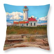 Point Wilson Lighthouse And Driftwood Throw Pillow