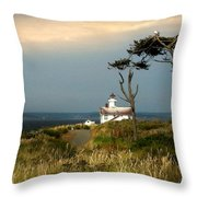 Point Wilson Lighthouse Puget Sound Watercolor Throw Pillow