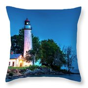 Pointe Aux Barques Lighthouse At Dawn Throw Pillow