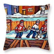Outdoor Hockey Rink Painting  Devils Vs Rangers Sticks And Jerseys Row House In Winter C Spandau Throw Pillow